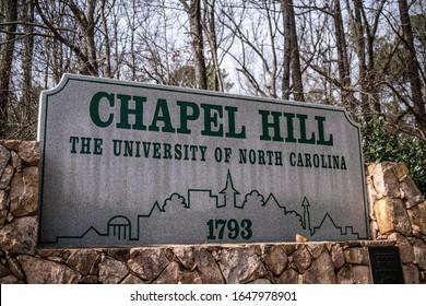 Chapel Hill, North Carolina - February 3 2020: University of North Carolina (UNC) Chapel Hill welcome sign