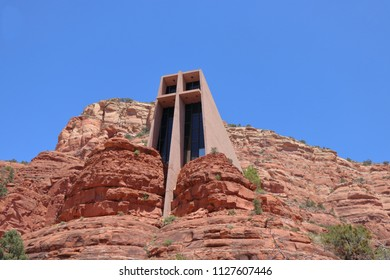 The Chapel of the Holy Cross in Sedona, Arizona. This Roman Catholic chapel was built right into a red rock. A stunning Architectural Landmark in Sedona.