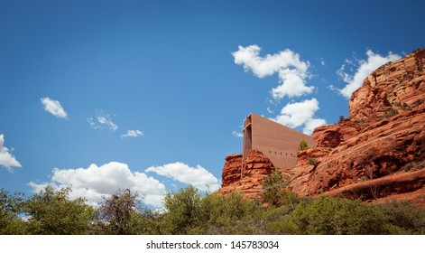The Chapel of the Holy Cross towering between red rocks in Sedona