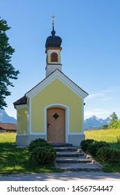 Chapel (Kapelle Maria Rast) near the village of Krün in the alps of Bavaria.