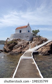 chapel on a rock in the Aegean Sea