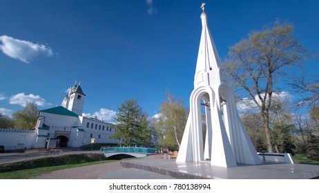 Chapel of Our Lady of Kazan imelapse in Yaroslavl, Russia. Monument opened at August 1997. Chapel images on 1000-ruble banknote