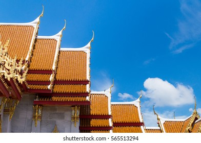 Chapel roof of temple on sky background