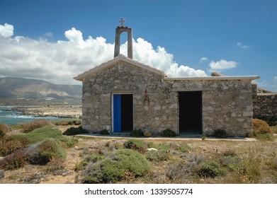 Chapel of Saint Irene on Elafonisi island located close to the southwestern corner of the Mediterranean island of Crete, Greece