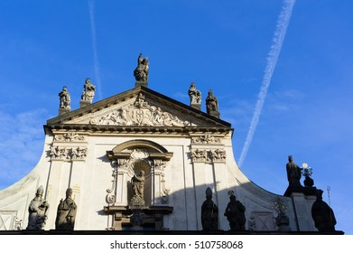 Chapel of Saint Salvator, Klementinum, Prague, Czech Republic / Czechia - sacral building made in early baroque style from 16th century. Decorated gable and statues