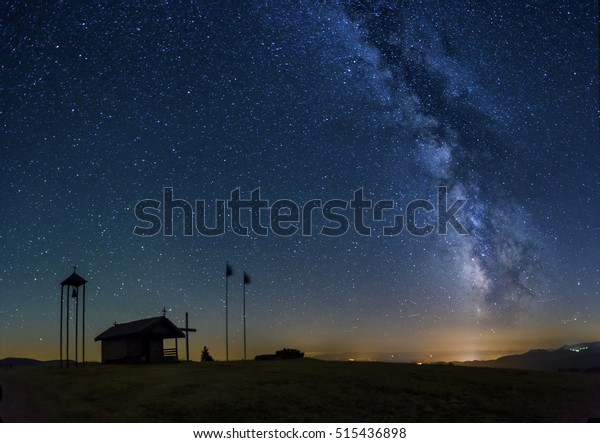 The chapel Saint Transfiguration of Jesus with the Milky Way galaxy in the background.