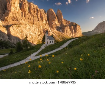 Chapel of San Maurizio at Passo Gardena, South Tyrol, Italy