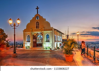 Chapel of Santa Ana on Santa Ana Hill during a glorious sunset in Guayaquil, Ecuador.