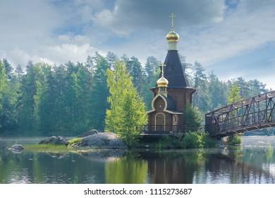 The chapel of St. Andrew on the lake of Vuoksa, Leningradskaya oblast, Russia