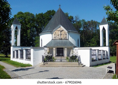 Chapel of St. Cyril and Methodius in Prikazy, Czech Republic. Its circular ground plan resembles a Slavic rotunda