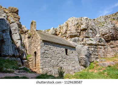 Chapel at St Govans Head on the Pembrokeshire Coast, Wales, UK