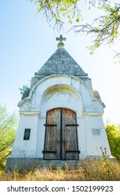 Chapel in sunbeams near Bakhchisarai. Translation: Chapel in the name of the Archangel Michael in memory of the fallen soldiers of the defense of Sevastopol 1854-1855