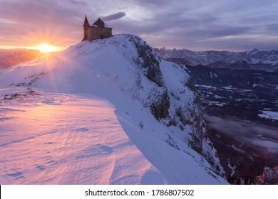 Chapel at surise at mount Dobratsch, Austria