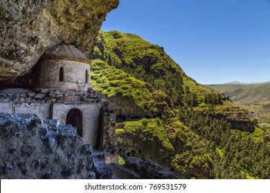 The chapel of the Vanis Kvabebi cave monastery in Samtskhe-Javakheti region of Georgia abaout famous cave city of Vardzia.