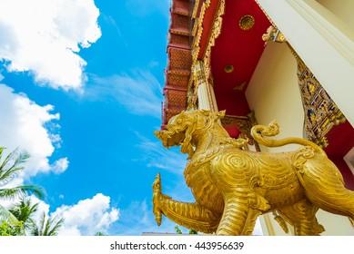 The Chapel of  Wat Pho Chai temple at Nong Khai, Thailand.