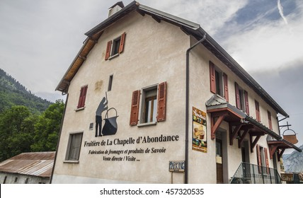 CHAPELLE D'ABONDANCE - JULY 7, 2015. Evening in Chapelle d'Abondance village, famous attraction for handmade products .Cheese factory - family business .