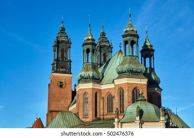 chapels and towers Gothic cathedral church in Poznan