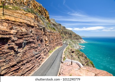Chapman's Peak Drive near Cape Town on Cape Peninsula - Western Cape, South Africa. Chapman's Peak Drive is a 9 kilometer long coastal road from Hout Bay to Noordhoek, passing Chapman's Peak mountain.