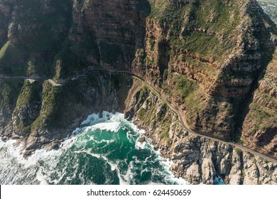 Chapmans Peak Drive (Soth Africa) aerial view shot from a helicopter