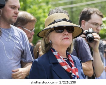 CHAPPAQUA, NY - MAY 26 -  Hillary Clinton attends the Memorial Day celebrations in her hometown of Chappaqua, New York on May 26, 2014.  Mrs. Clinton is running for President.