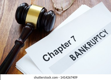Chapter 7 Bankruptcy documents and gavel.