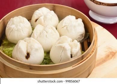 Char Siu Bao  - Chinese steamed bun filled with bbq pork - Cantonese Dim Sum