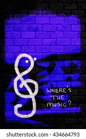Character Clef hunting for music - abstract wall art illustration