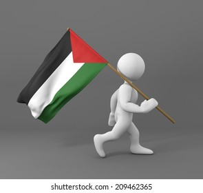 character with flag of palestine