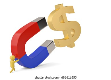 A character hold a big magnet to attract big gold dollar sign 3D illustration.