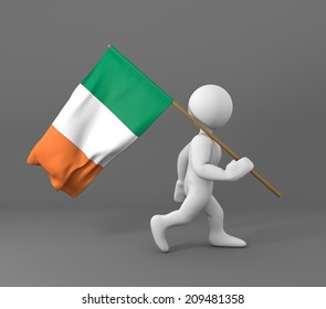character holding flag of cote D'Ivoire