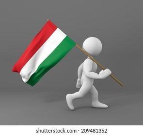 character holding flag of hungary