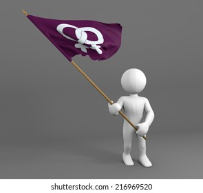 character holding flag of lesbian icon, waving flag in the wind
