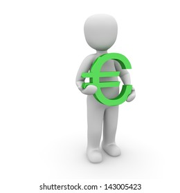 A character holding an green sign euro in hands.
