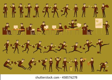 character positions set business people art