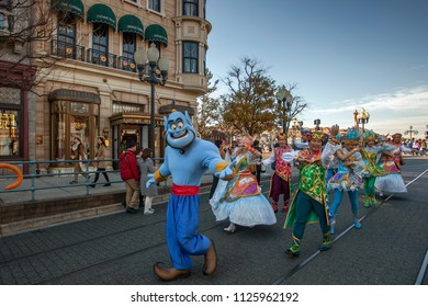 Character Street Parade welcoming all visitors in Disney Sea Tokyo, Japan. 02 January 2017