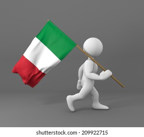 character walking and holding flag of italy