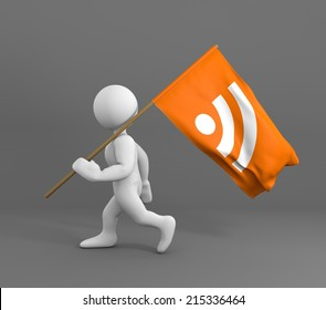 Character walking and holding flag of rss icon