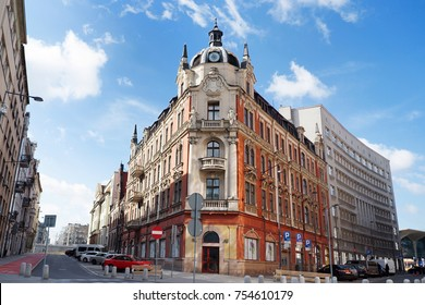 Characteristic building in Katowice city center, Silesia, Poland, Europe