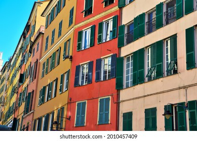 characteristic colorful historic houses Genoa Italy