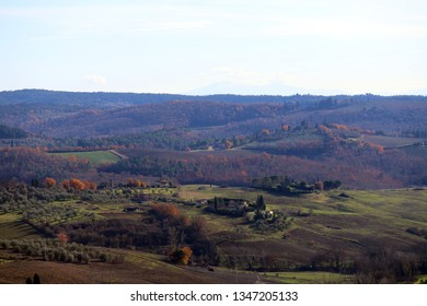 Characteristic landscape of Tuscany in autumn: hills, farmhouses, olive trees, cypresses, vineyards. The hills of Chianti south of Florence