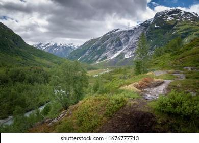 Characteristic Norwegian mountain valley late summer Austerdalen