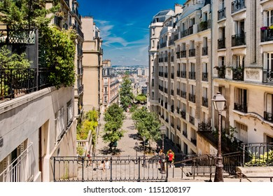 Characteristic staircase of Montmartre hill in Paris, which leads into the center of the city.