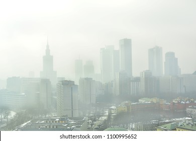 Characteristic view of a modern city skyline covered in a dense smog and pollution