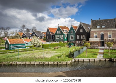 Characteristic wooden houses of Marken, Waterland, North Holland