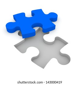 The characters carry a puzzle piece to the appropriate gap.
