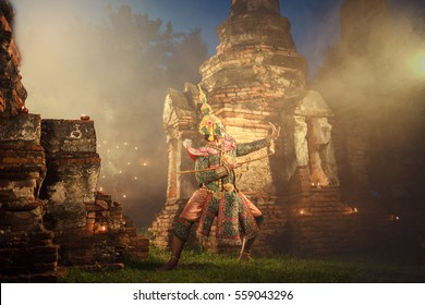 The characters in the Ramayana in the temple Literary of Thailand