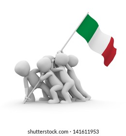 The characters want to hoist the Italian flag together.