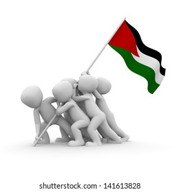 The characters want to hoist the Palestinian  flag together.