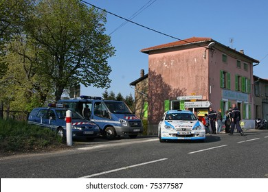 CHARBONNIERES, FRANCE - APRIL 16 : Lyon-Charbonnieres rally takes place on roads around Lyon and is the second round of the French championship, on April, 16, 2011 in Charbonnieres, France