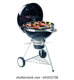 Charcoal BBQ Barbecue Grill with Food Isolated on White Background. Portable Grillware. Outdoor Cooking Station with Vegetables. Outdoor Grill Table. Clipping Path